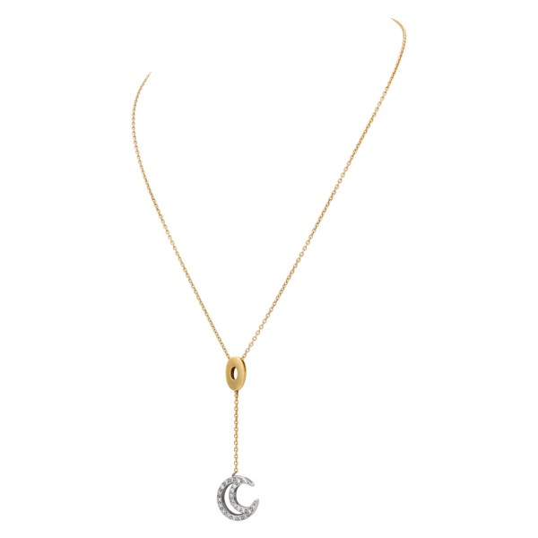Cresent moon diamond pendant necklace in 18k