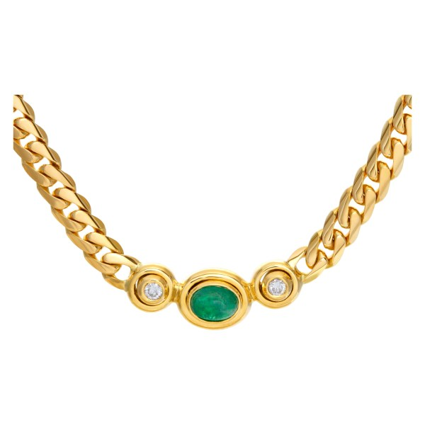 Solid Cuban link chain/necklace in 18K yellow gold with cabochon emerald and 2 round bezeled diamonds center motif