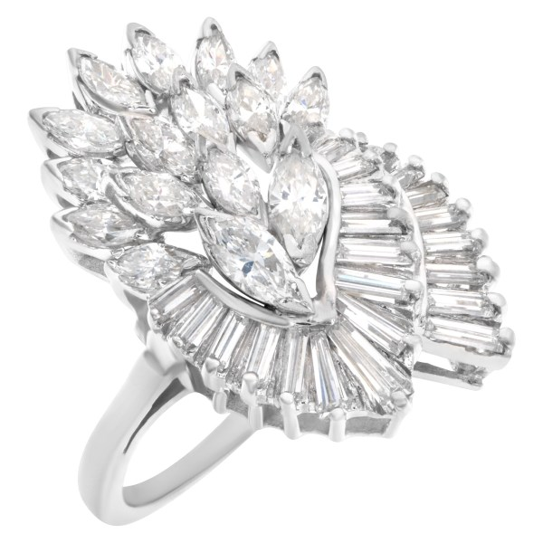 Diamond cocktail ring with over 2 carats in marquise and baguette diamonds set in 14k white gold
