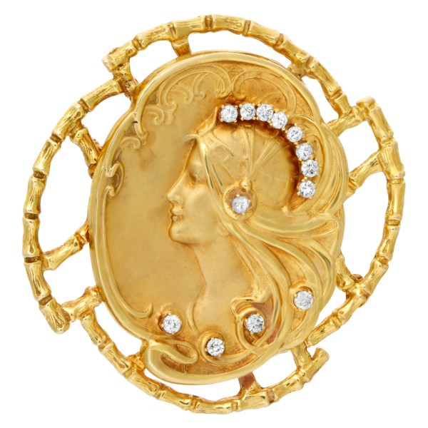 Art Nouveau brooch/pendant head of a maiden with head band & flowing golden hair  accented with diamonds