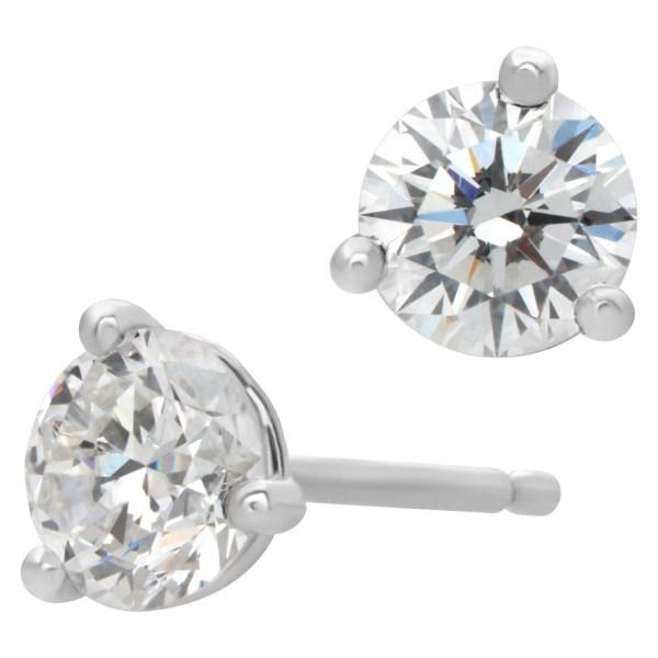 GIA certified diamond studs 0.32 carat (E color, SI1 clarity) and 0.35 carat (F color, SI2 clarity)