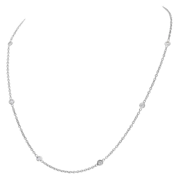 """""""Penny Preville, diamonds-by-the-yard necklace"""" in 18K white gold with 6 diamonds."""
