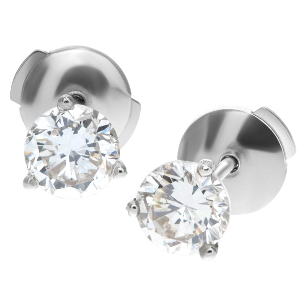 GIA certified diamond studs total 1.07 carats (S to T Range Light Brown Color, SI2 Clarity)