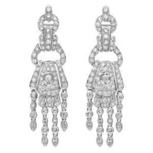 Amazing diamond chandelier earrings 18k white gold over 4.50 cts in diamonds