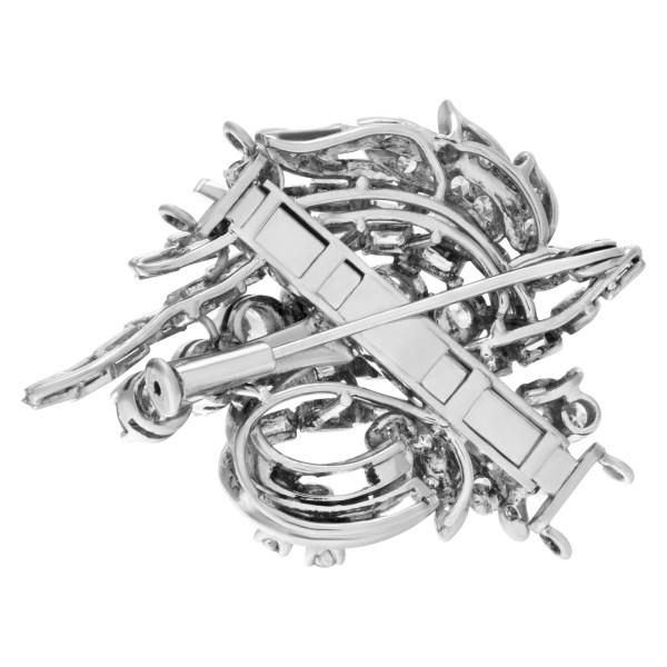 Vintage Diamond Pendant/Pin On 14k White Gold Chain, 72b