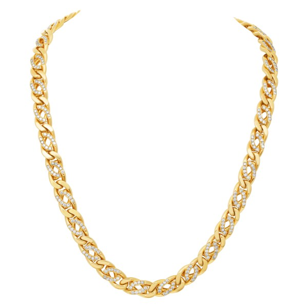 Italian made gold chain in 18k yellow gold with approximately 13.2 carats in diamonds