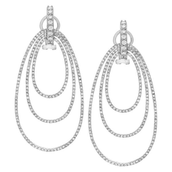 Triple oval micro pave diamond earrings in 18k white gold
