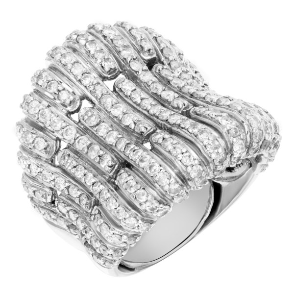 Unique fan design 18k white gold ring with over 1.0 carat in micro pave set diamonds