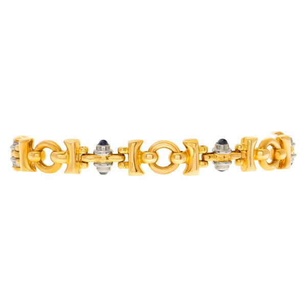 Italian link bracelet with cabochon sapphire accents in 18k