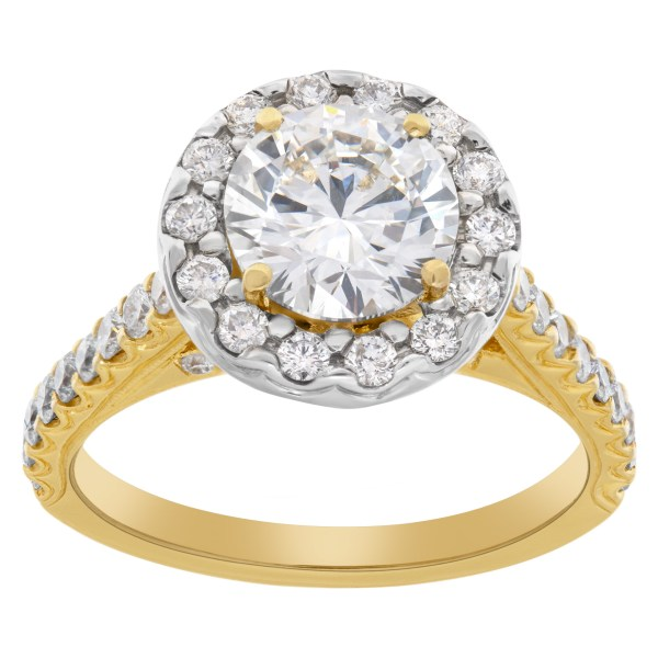 GIA certified round brilliant cut diamond 1.51 carat (G color, VS2 clarity) ring