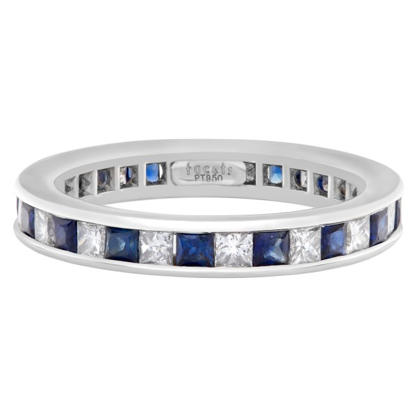 Diamond Eternity Band and Ring with sapphire in platinum; 2 carats in F-G color VS clarity princess cut diamonds & 2 carats in deep blue sapphires