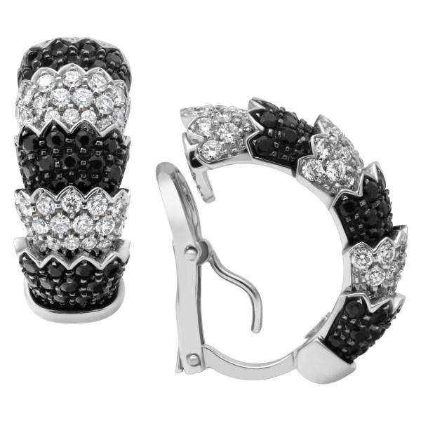 """Roberto Coin """"Cobra"""" earrings and ring set in 18k white gold with white diamonds & black sapphires"""