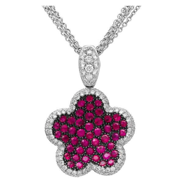 Deep pink sapphire ring and necklace set in 18k white gold