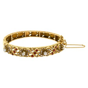 Natural pearl, diamond and garnet accents bangle in 14k