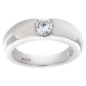 Gipsy solitare diamond ring set in platinum. 0.50 carat full cut round brilliant center diamond