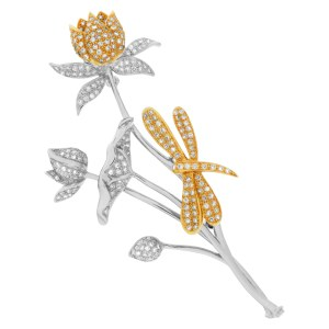 Flower & dragonfly diamond pin in 18k white & yellow gold