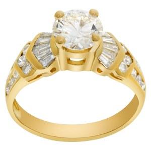 GIA certified round brilliant cut diamond 1.21 carat (K color, VVS1 clarity, Excellent cut, Excellent polish, Excellent symmetry) ring