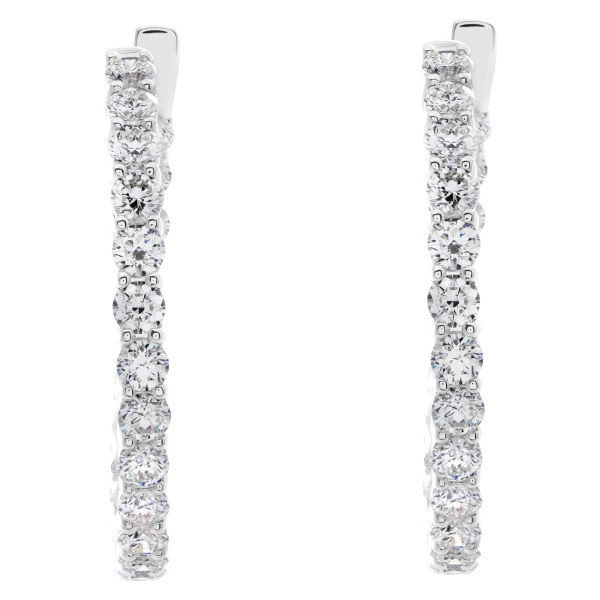 18k white gold hoop earrings with 4.22 carats in round cut diamonds