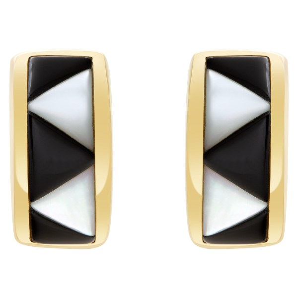 Kabana earring and ring set in  14k yellow gold with onyx and mother of pearl accents