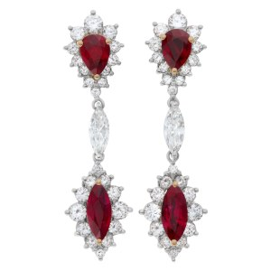AGL certified Ruby and diamond drop earrings