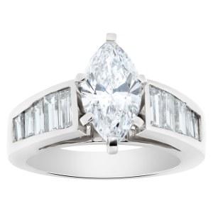 GIA certified marquise brilliant cut diamond 1.53 carat (D color, SI1 clarity) set in platinum setting