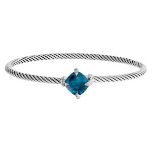 "David Yurman ""Chatelaine"" bangle in sterling silver w/ blue topaz and diamonds prongs."