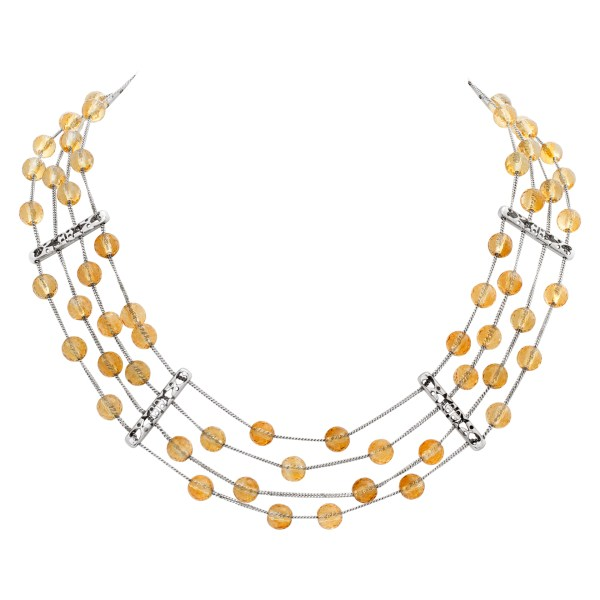 Sexy multi strands citrine & 18K white gold choker necklace.