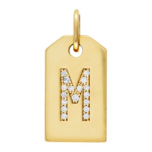 "Tiffany & Co. Mini Alphabet Tag Charm ""M"" in diamonds in 18k"