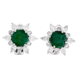 Elegnat round African emerald and diamond earrings in platinum