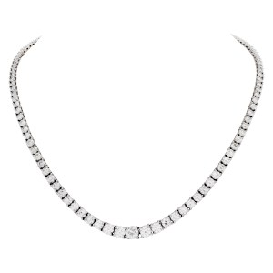 GIA certified round diamond graduated tennis necklace in 18k White gold