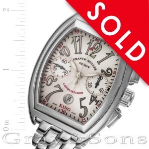 Franck Muller Conquistador 8002 cc 18k white gold 41mm auto watch