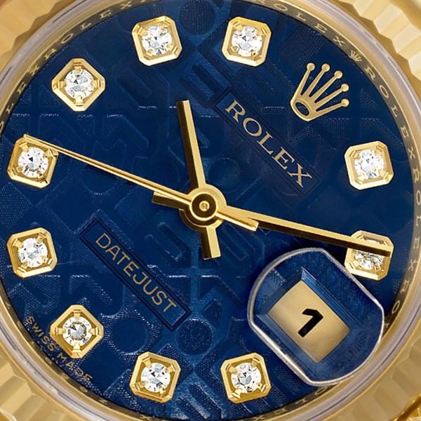 Rolex Datejust 179178 18k Yellow Gold Anniversary Blue Diamond Dial Automatic