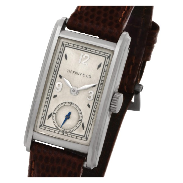 Patek Philippe retailed by Tiffany & Co in platinum on a leather strap Manual