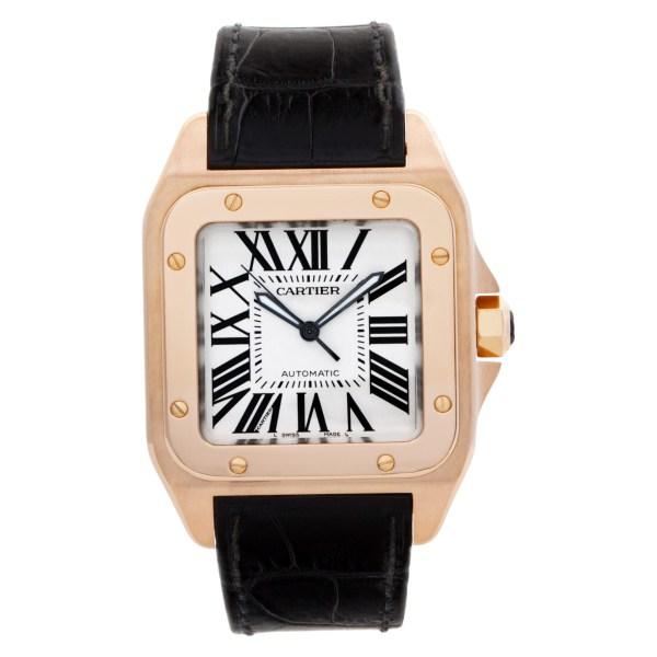 Cartier Santos 100  W20095Y1 18k rose gold White dial 38mm auto watch