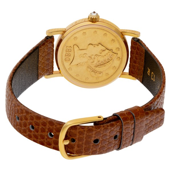 Corum $5 Coin xxx 18k Gold dial 24mm Quartz watch