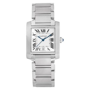 Cartier Tank Francaise 2302 Stainless Steel Silver Guilloche dial 28mm Automatic