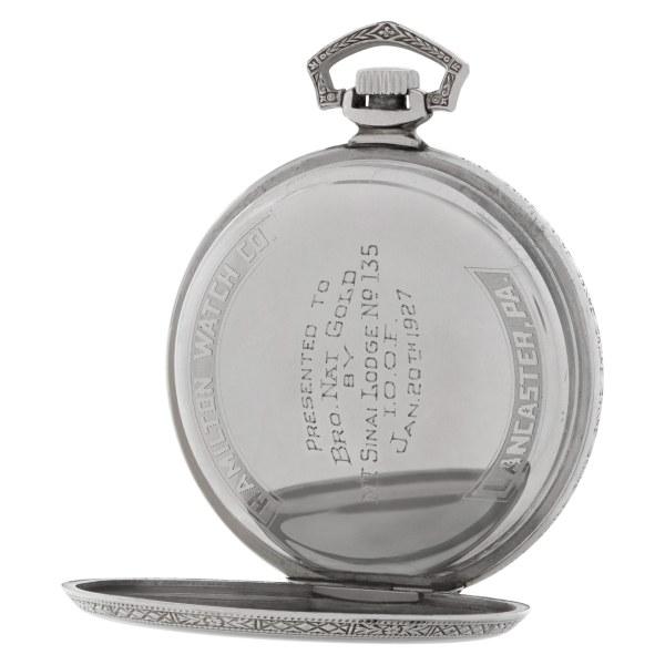 Hamilton pocket watch     14k White Gold Fill Silver dial mm    Manual watch