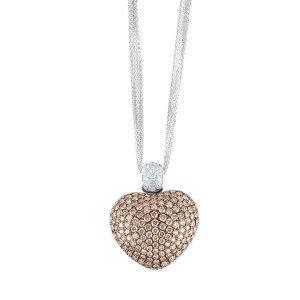 Puffed cognac diamond heart pendant