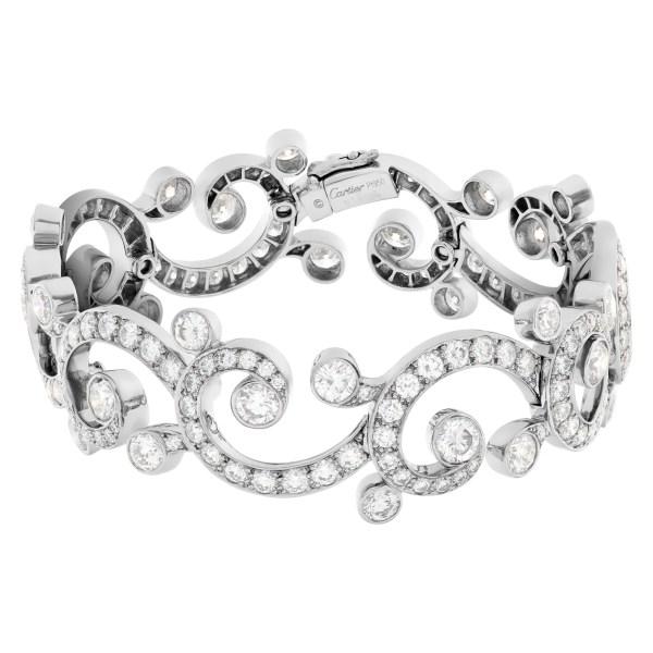 Caritier diamond bangle bracelet in platinum