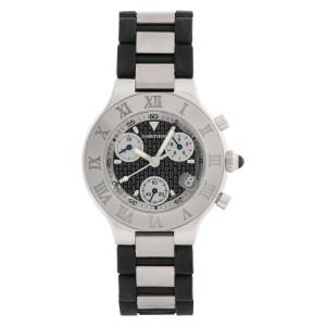 Cartier Chronoscaph 21 w1012502 Stainless Steel Charcoal dial 36mm Quartz watch