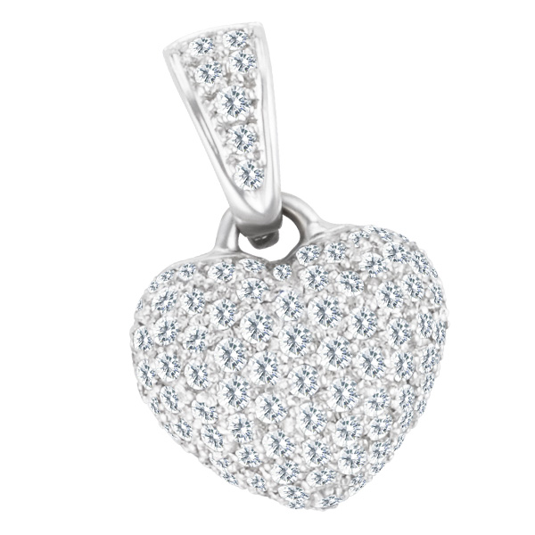 Heart Pendant in 18k White Gold With Approx 1.00 Carats In Diamonds. 18k chain.