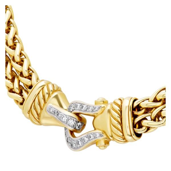 David Yurman double wheat link necklace with diamond buckle clasp