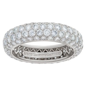 Tiffany & Co Etoile 4 row diamond eternity band in platinum with 3 carats in diamonds. Size 7.