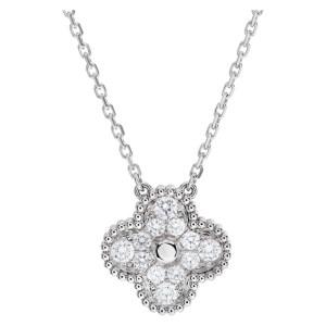 Vintage Alhambra pendant, white gold, round diamonds
