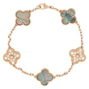 Van Cleef & Aprels Vintage Alhambra 5 motif made up of Mother of Pearl & pave diamond stations