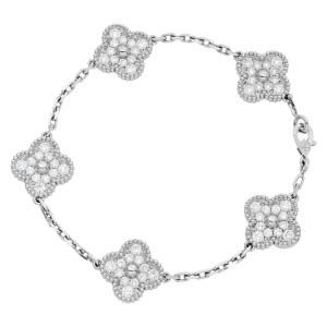 Van Cleef & Arpels Vintage Alhambra 5 diamond motif bracelet in 18k white gold