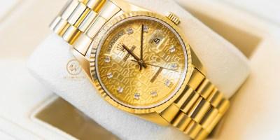 Đồng hồ Rolex Day-Date 18238 mặt vi tính cọc số kim cương