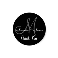 black_wedding_thank_you_monogram_names_sticker-217969375339215703