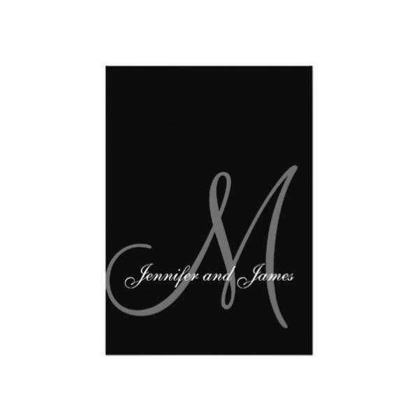 Elegant Monogram Black White Wedding Thank You Note Card Luxury