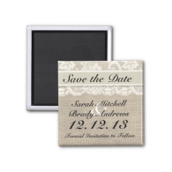 rustic_burlap_lace_ivory_save_the_date_magnet-147288004389121791